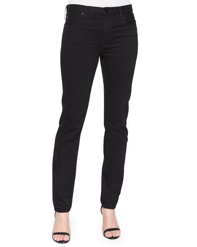 Relaxed-Fit Straight-Leg Jeans, Black