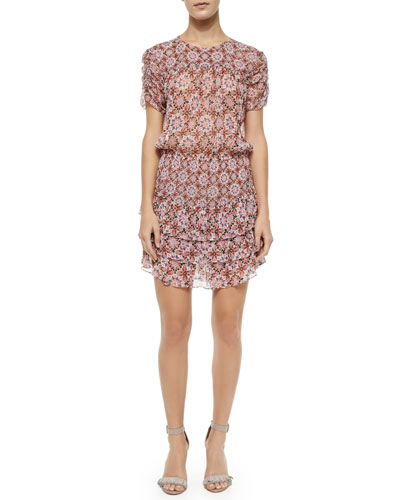 Rona Tiered Silk Medallion Dress, Terra Cotta