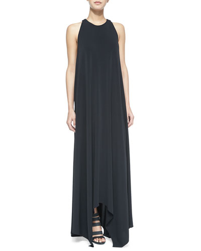 Athena Chain-Back Maxi Shift Dress, Black