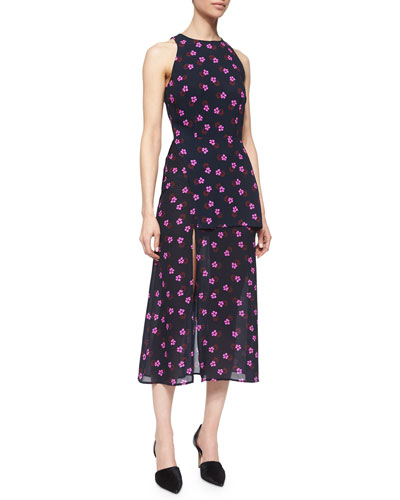 Mer Flower-Print Layered Dress