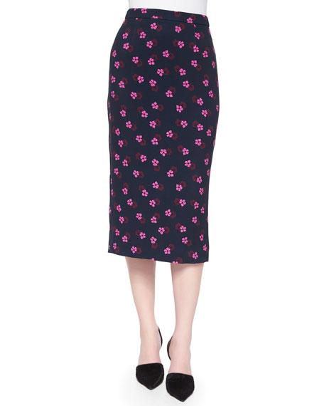 A.L.C. Bell Mallow-Print Midi Pencil Skirt