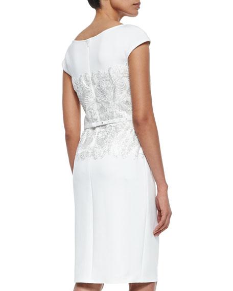 tadashi shoji cap sleeve lace bodice belted cocktail dress