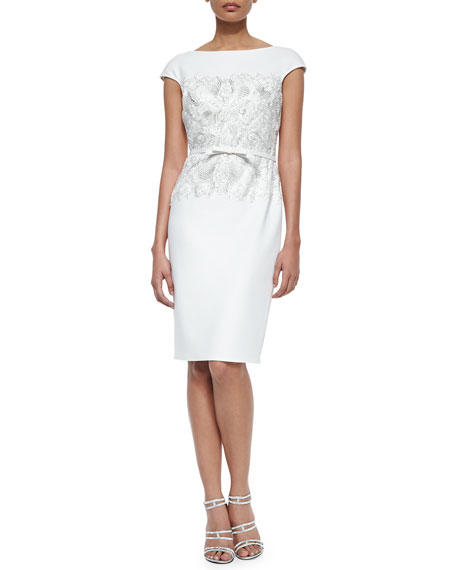 Tadashi Shoji Cap-Sleeve Lace-Bodice Belted Cocktail Dress
