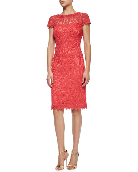 Short-Sleeve Lace Overlay Cocktail Dress, Cantaloupe