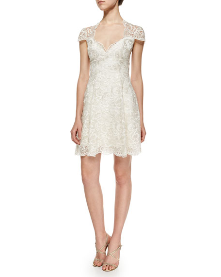 Marchesa Notte Cap-Sleeve Lace Flare Dress