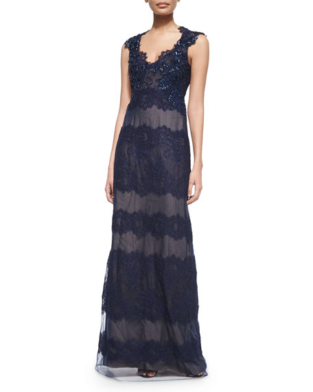 Marchesa Notte Cap-Sleeve Lace Keyhole-Back Gown