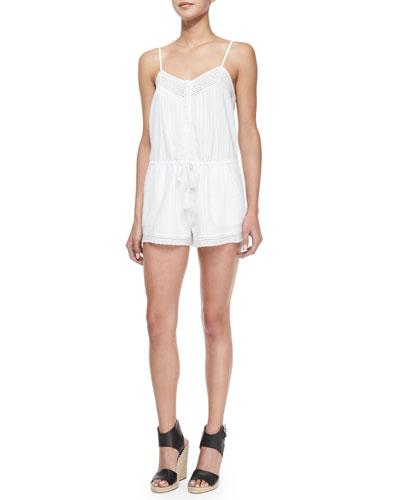Cynthia Vincent Lace Trim Linen Romper White Dresses For