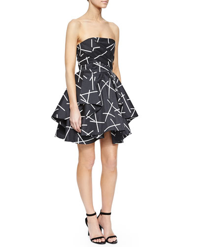 Shaken Up Pleated Satin Dress, Geo Black