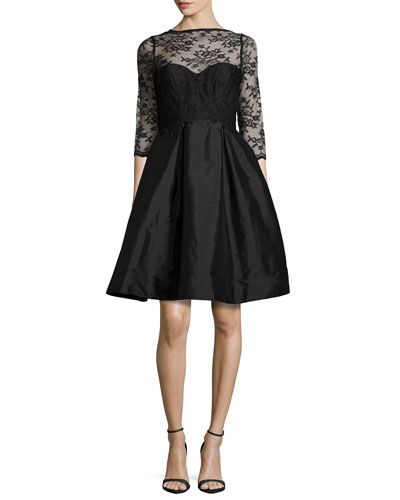 3/4-Sleeve Lace-Bodice Full-Skirt Short Dress, Black