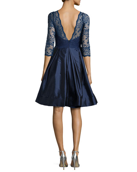 3/4-Sleeve Lace-Bodice Full-Skirt Short Dress, Navy