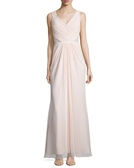 Monique Lhuillier Bridesmaids Sleeveless Ruched Bodice Lace Back