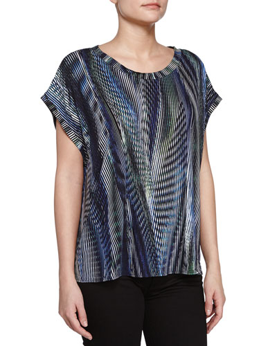 Short-Sleeve Printed Top, Midnight/Cascadin