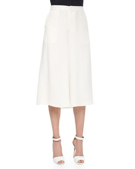 Elle Sasson Holly Silk Culottes, Ivory