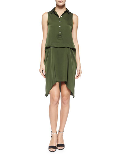 Sleeveless Silk Drawstring-Back Dress