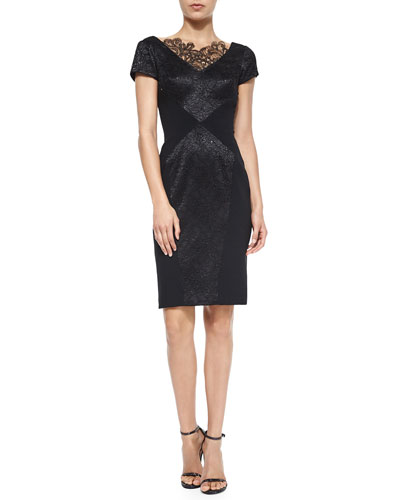Short-Sleeve Lace-Detail Sheath Cocktail Dress