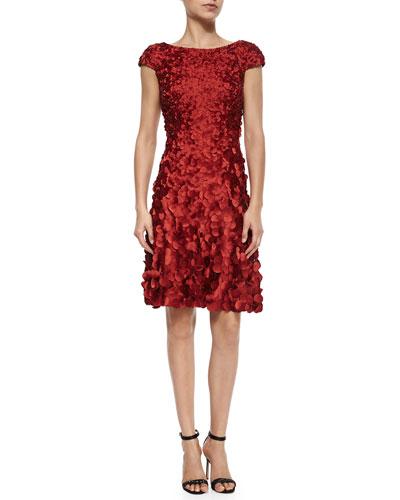 Cap-Sleeve Petal Cocktail Dress, Passion