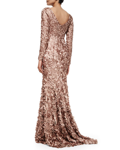 Long-Sleeve Petal Mermaid Gown, Tawny