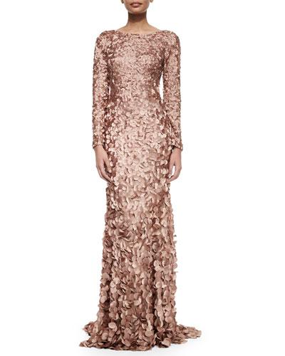 Long-Sleeve Petal Mermaid Gown, Tawny