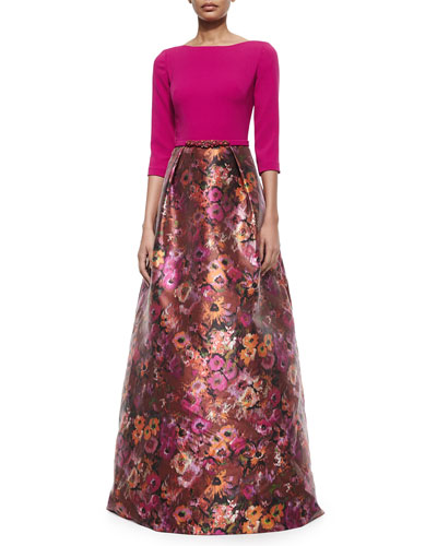 3/4-Sleeve Jersey Top Floral Skirt Gown