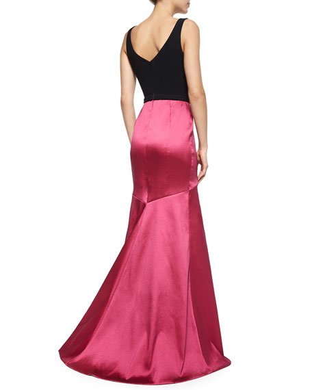 Sleeveless Combo Jeweled-Waist Mermaid Gown