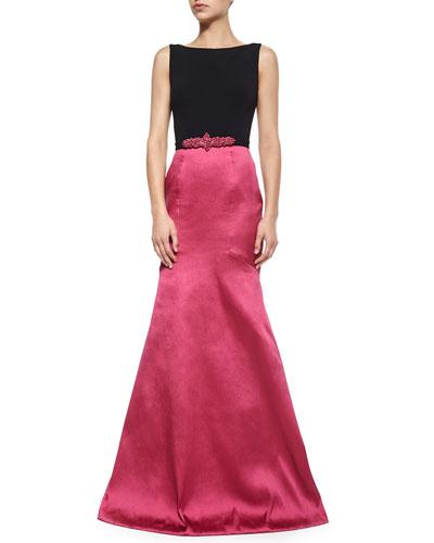 Sleeveless Combo Jeweled-Waist Mermaid Gown