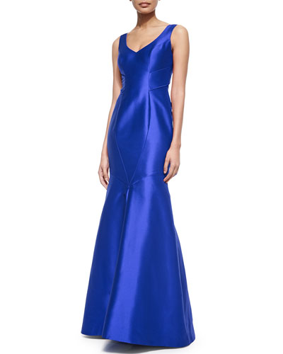 Sleeveless V-Neck Mermaid Gown, Lapis