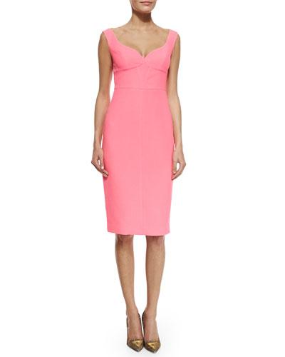 Sleeveless Sweetheart Sheath Dress, Pink Freeze