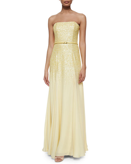 Halston Heritage Strapless Sequined Belted Gown