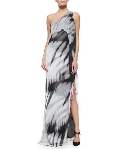 One-Shoulder Tie-Dye Long Caftan Dress