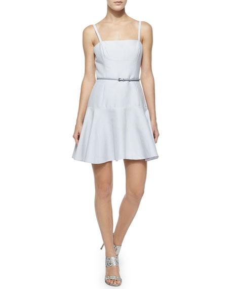 Halston Heritage Belted Flounce-Hem Dress