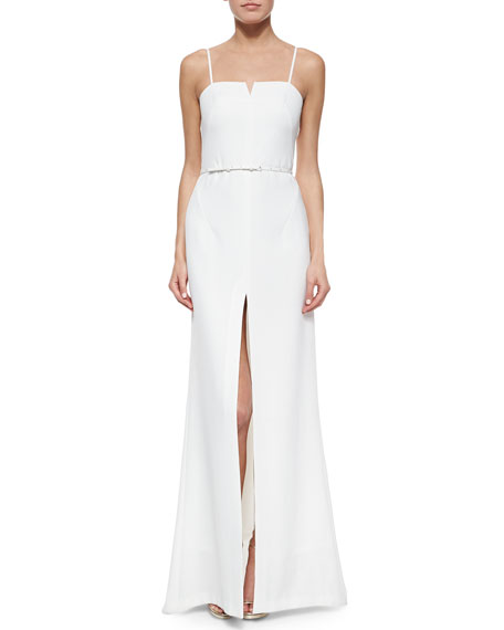 Halston Heritage Spaghetti Strap Belted Center-Slit Gown