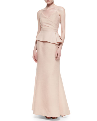 Gracie Strapless Peplum Gown, Bare Pink