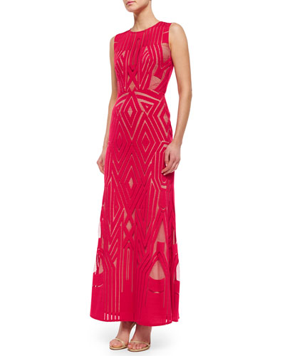 Viera Geometric Lace Column Gown