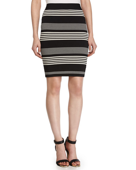 Stripe Pencil Skirt, Black/Chalk