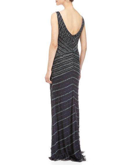 Sleeveless Deco Beaded Gown, Midnight