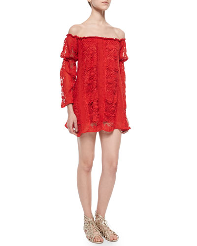 Lace Garden Rose Dress, Hot Red