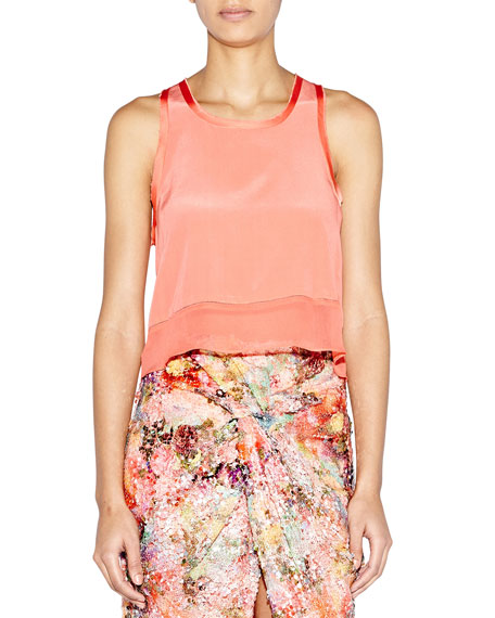 Sleeveless Silk Sheer-Hem Crop Tank
