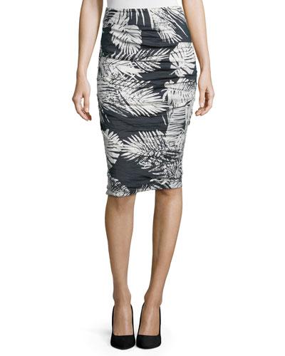 Sandy Ruched Pencil Skirt, Black/White