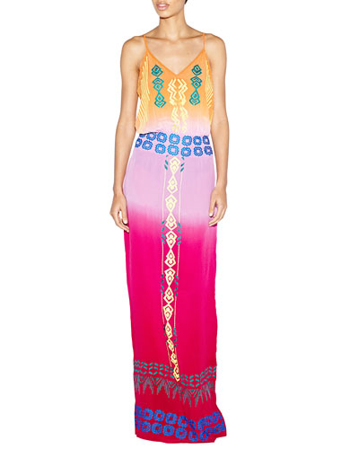 Sleeveless Tribal-Embroidered Maxi Dress