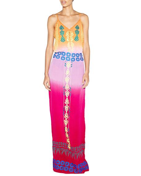 Nicole Miller Sleeveless Tribal-Embroidered Maxi Dress