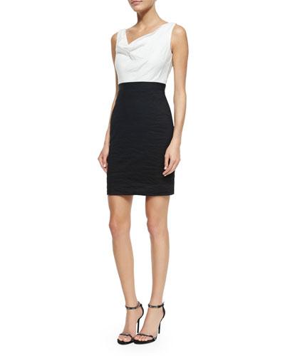 Sleeveless Colorblock Sheath Dress, Black/White