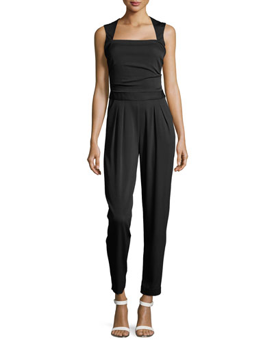 Sleeveless Jumpsuit w/Pockets, Black