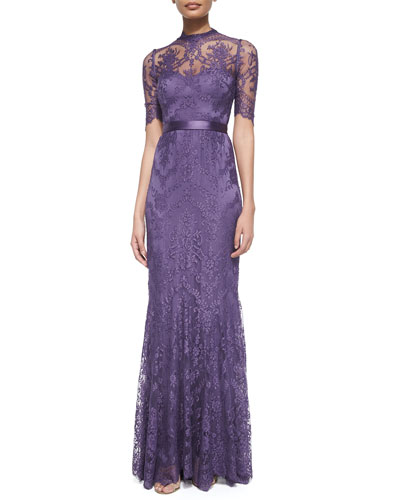 Half-Sleeve Embroidered Lace Gown