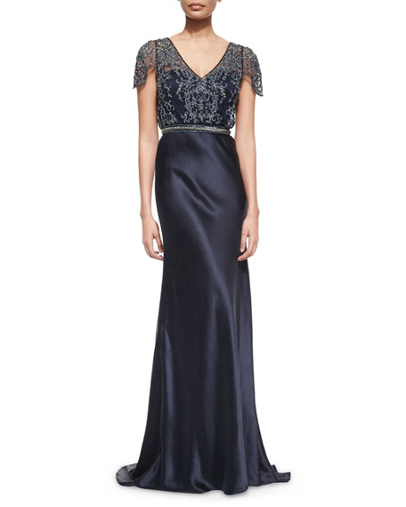 Catherine Deane Short-Sleeve Beaded Mesh Bodice Satin Gown