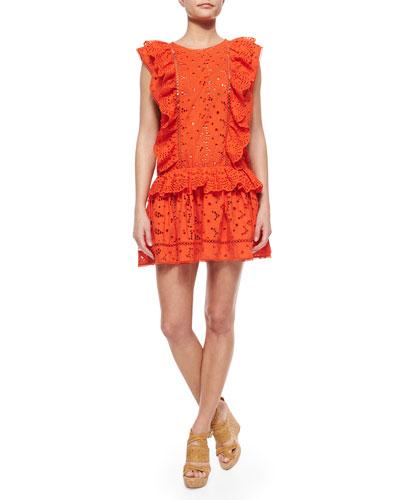 Marisol Eyelet Flip Dress, Tomato