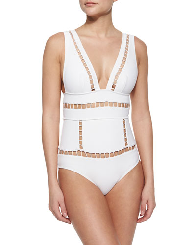 Marisol Plunge One-Piece Swimsuit, White