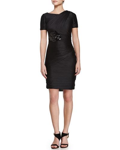 Short-Sleeve Flower-Detail Dress, Black