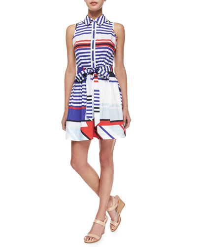 Marina Sleeveless Striped Tie-Waist Shirtdress