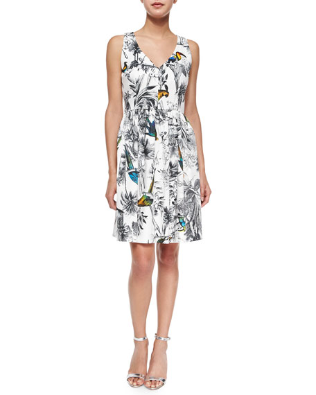 Milly Isadora Sleeveless Tropical-Print Dress