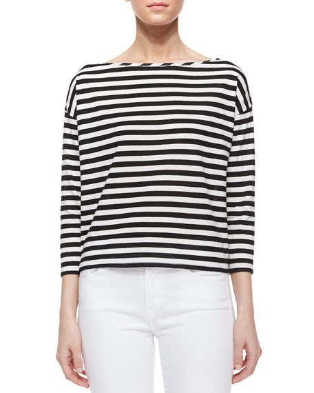 Milly Riviera 3/4-Sleeve Striped Sailor Tee